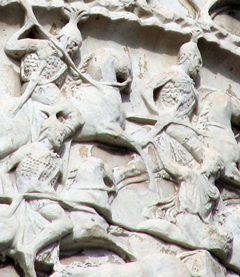 Marco Aurelio Column - The Roman cavalry pursuits the enemy
